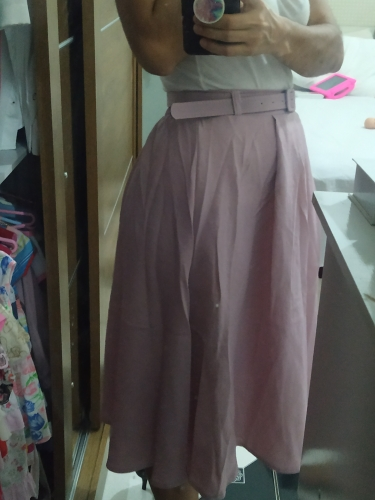 Korean Office Lady Sashes Fashion Saias Female Summer All Match Chic A Line Skirts Pink Army Green Bottoms Women photo review
