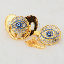 MIYOCAR Bling evil eye chupeta e clipe set cadeia chupeta chupeta titular bling azul encantador olho projeto original AEYE-1