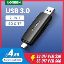 UGREEN lettore di schede USB 2in1 tipo C USB 3.0 a SD Micro SD TF adattatore per telefono portatile OTG Cardreader Smart Memory lettore di schede SD