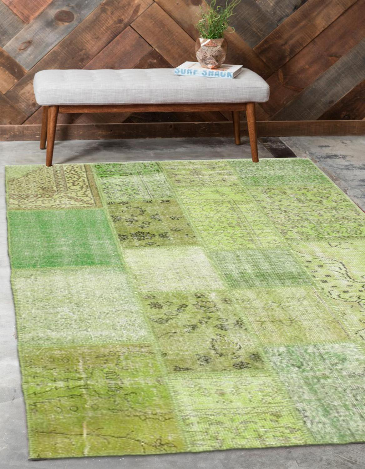 Else Light Green Anatolian Patchwork Rug Turkish Handmade Organic Area Rug Decorative Home Decor Wool Patchwork Rug Carpet