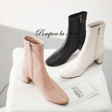 BHS 9011137 Elegant Genuine Sheepskin Women Fashion 5CM Heel Zipper Boots 15CM Mid Calf Leather Insole Casual Daily