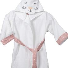 Hooded Boy and Girl Bathrobe 100% Cotton Cute Pattern 2 Colors High Quality