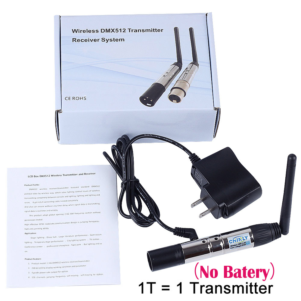 DMX512 Wireless Lighting Receiver Transmitter 2.4G Communication distance 300M RGB Light Controller for Stage Effect Controller