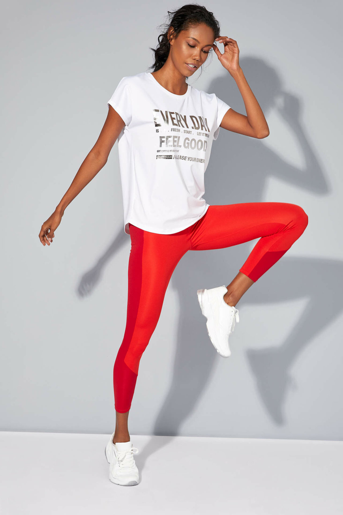 DeFacto Woman Charming Red Knitted Leggings Women Sports Fit Body Long Leggings For Winter-M3145AZ19WN
