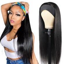Bone Straight Human Hair Wigs Remy Brazilian Natural Long Headband Wigs For Women Glueless 150% Density