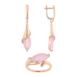 Бижутерия для женщин комплекты QSY под золото, серебро.Длинные висячие серьги-капли с камнями.Женское кольцо с розовым цирконом