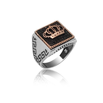 925 Silver Crown Printed Casual Ring for Men
