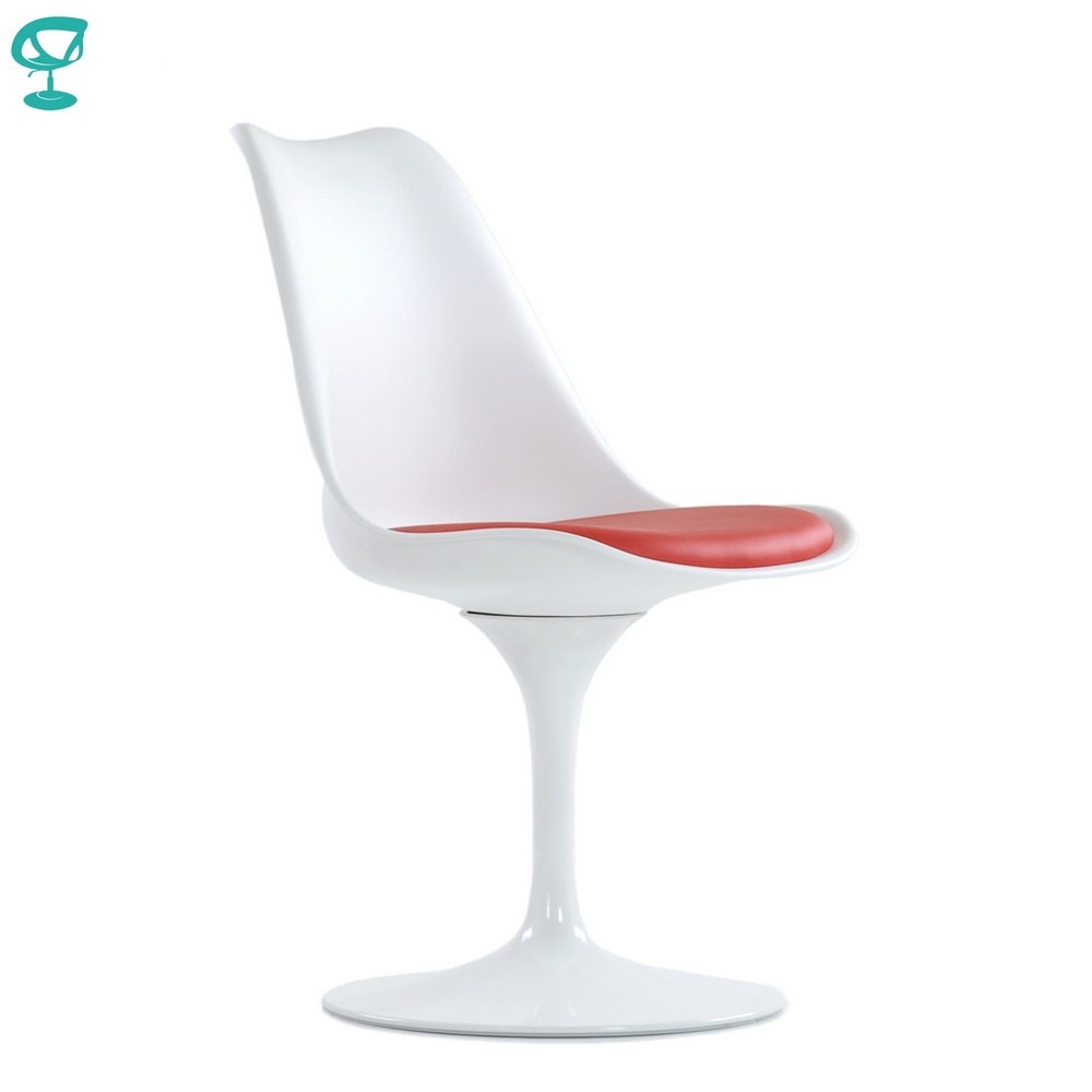95765 Barneo N-8 Plastic Kitchen Interior Stool Chair For Kitchen Furniture White With Red Cushion Free Shipping In Russia