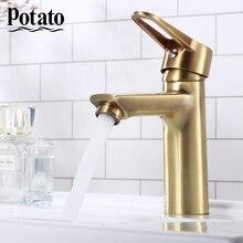 Potato 4 Color Vintage Water-Tap-Mixer Gold Bathroom Basic Faucet Sink Faucet p10270-