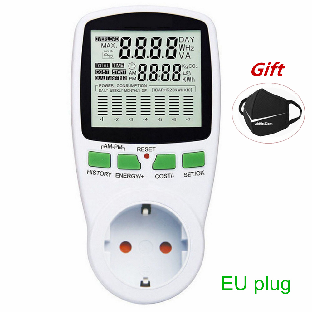 Wattmètre numérique compteur d'énergie compteur d'énergie LCD puissance en watts électricité KWH mesure prise de mesure analyseur de puissance ue usa AU royaume-uni