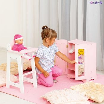 Furniture Toys PAREMO  A set of doll furniture wardrobe + chair), color Pink for children toys for kids game furniture dolls doll houses furniture for bed for accessories doll for marie a