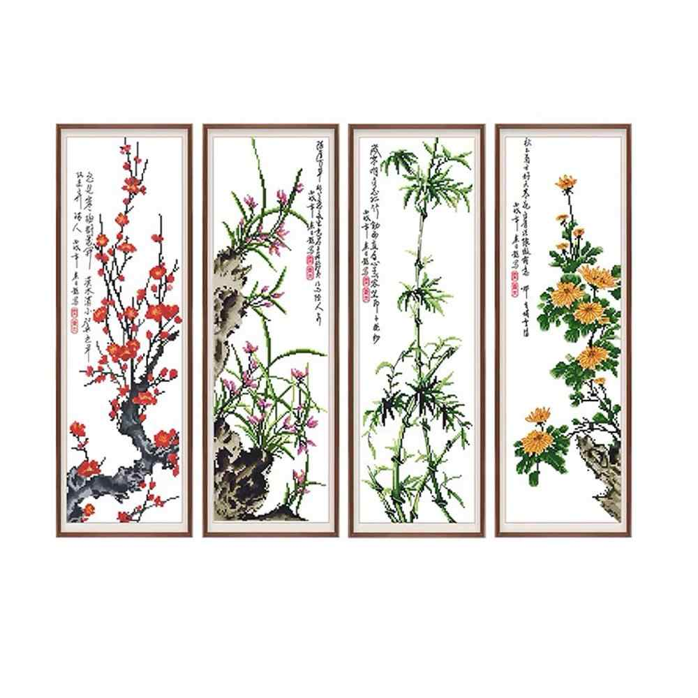 Quatre messieurs en plantes fleur Noble la prune orchidée sauvage bambou automne chrysanthème estampillé Kit de point de croix