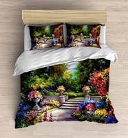 Else 4 Piece Coloured Flowers Floral Garden 3D Print Cotton Satin Double Duvet Cover Bedding Set Pillow Case Bed Sheet