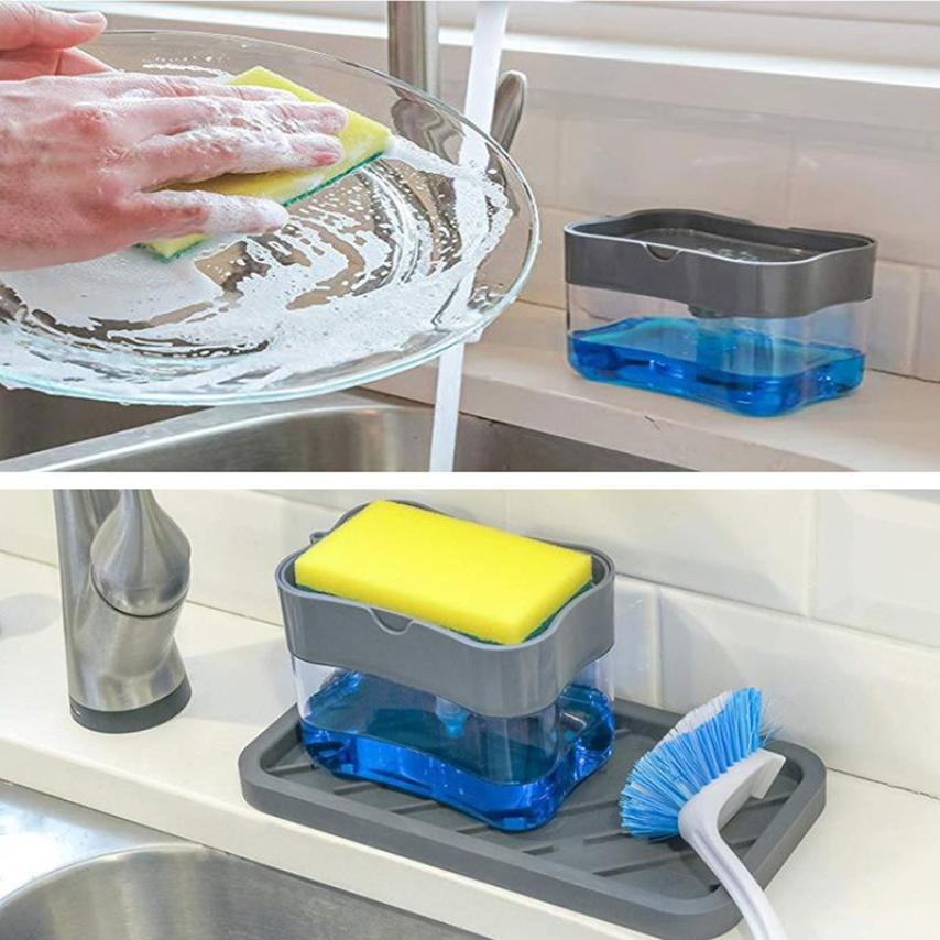 2-in-1 Soap Pump Dispenser With Sponge Holder Kitchen Manual Press Liquid Detergent Dispenser Container Household Cleaning Tool