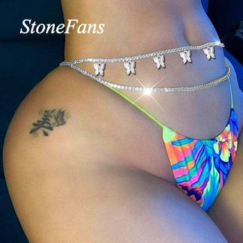Stonefans Sexy Body Jewelry Rhinestone Tennis Waist Chain for Women Beach Charm Bikini Belly Chain Butterfly Waist Chain Belt 1