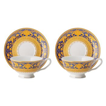 Tea pair Versailles blue gold 180 ml (set of 2 pairs)