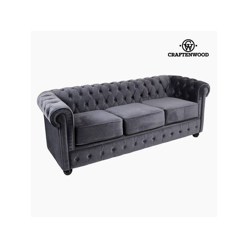 Sofa Chester 3 Seater Gray Velvet-Collection Relax Retro By Craftenwood