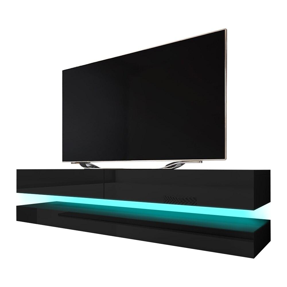 HYLIA Meuble TV suspendu (140 cm, noir mat / noir brillant avec LED) 2