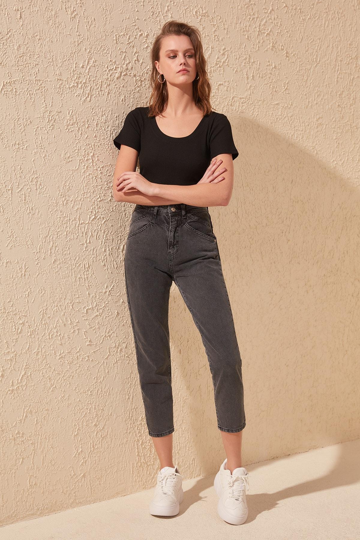 Trendyol Stitch Detail High Bel Mom Jeans TWOSS20JE0184