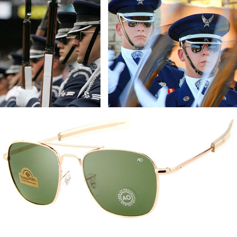 Moda aviação óculos de sol dos homens marca designer exército americano militar óptica ao óculos de sol para masculino uv400 lentes de vidro oculos