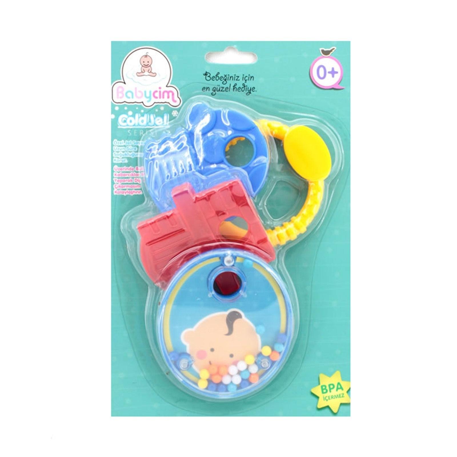 Ebebek Birlik Oyuncak Printed Gel Baby Teether Set With Rattle