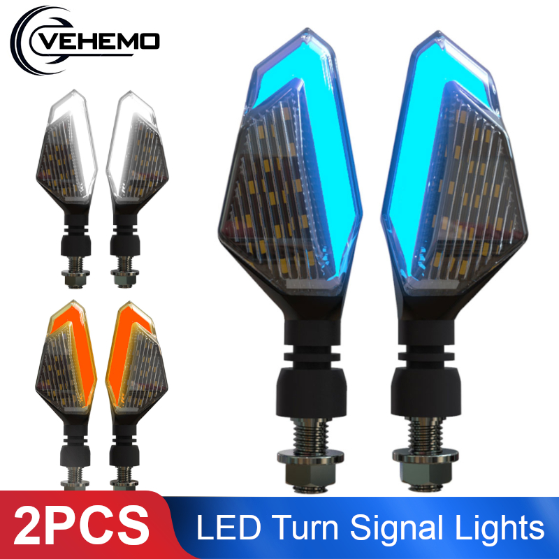 2 Flasher Motorcycle LED Turn Signal Lights For Cruiser Honda Kawasaki BMW Yamaha Motorcycle Blinker Front Rear 2PCS Signal Lamp