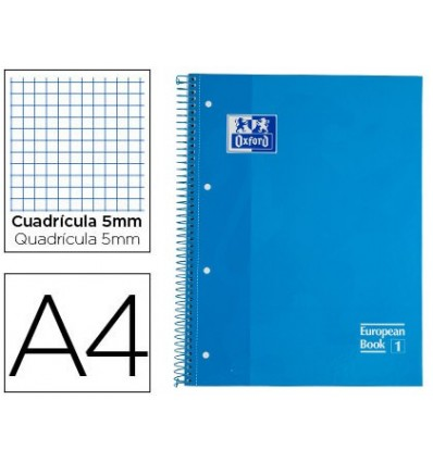 NOTEPAD SPIRAL OXFORD EUROPEAN BOOK TOP EXTRADURA DIN A4 80 SHEETS GRID 5 MM TURQUOISE