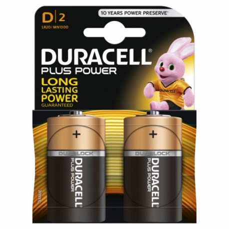 ALKALINE Battery LR20 1,5V D POWER PLUS DURACELL 2 PZ