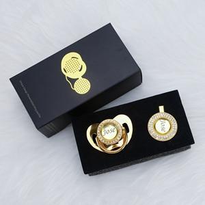 Image 3 - MIYOCAR شخصية أي اسم يمكن أن تجعل الذهب بلينغ مصاصة و مصاصة كليب BPA الحرة دمية بلينغ تصميم فريد P8