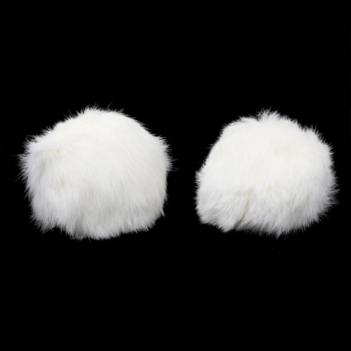Pompon Made Of Natural Fur (rabbit), D-10cm, 2 Pcs/pack (G White)