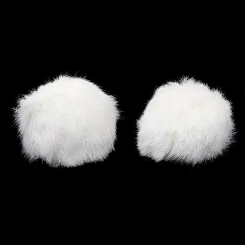 Pompon Made Of Natural Fur (rabbit), D-10cm, 2 Pcs/pack (G White)