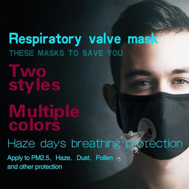PM2.5 Activated Carbon Face Breath Valve Masks Reusable Breathable Cotton Protective Mouth Mask Anti Flu Dust Masks Comfortable 1