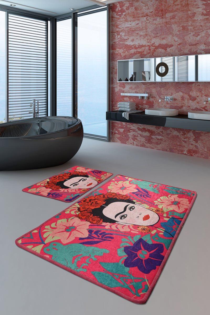 Bath Mats Non Slip Anti Mould Mats Non Slip Anti Mould Frida Pink Djt 2'Li Set 60X100 Cm -50X60 Cm