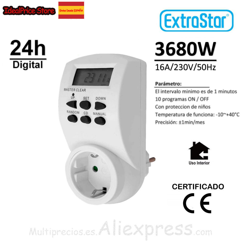 EXTRASTAR®TIMER Programa Ble DIGITAL 6 BUTTON 12/24 Time S Programa Minutes, Time And Days The Week