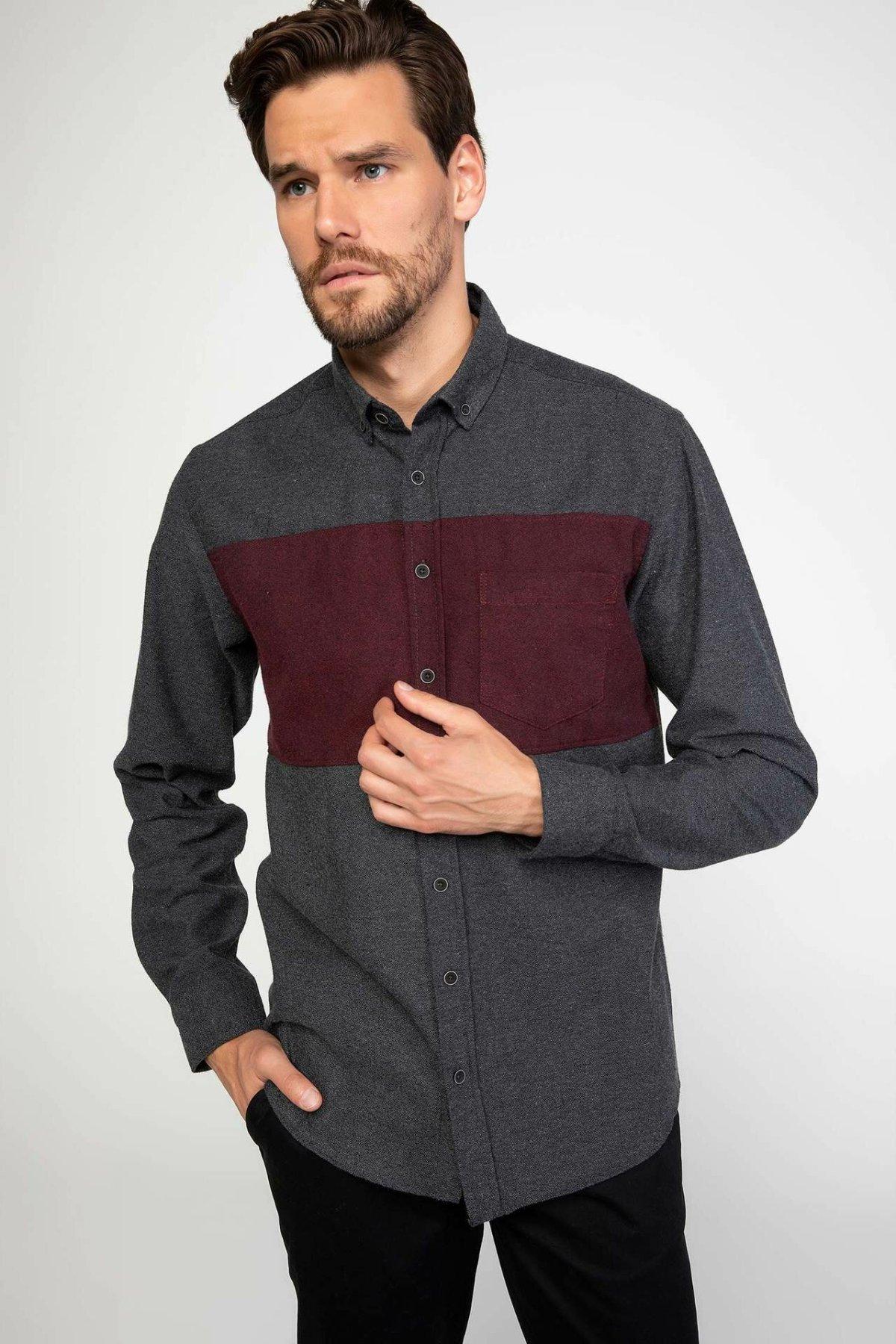 DeFacto Autumn Fashion Man Lapel Long Sleeve Shirt Men's Casual High Quality Patchwork Blousers Male Loose Shirts - J3464AZ18WN