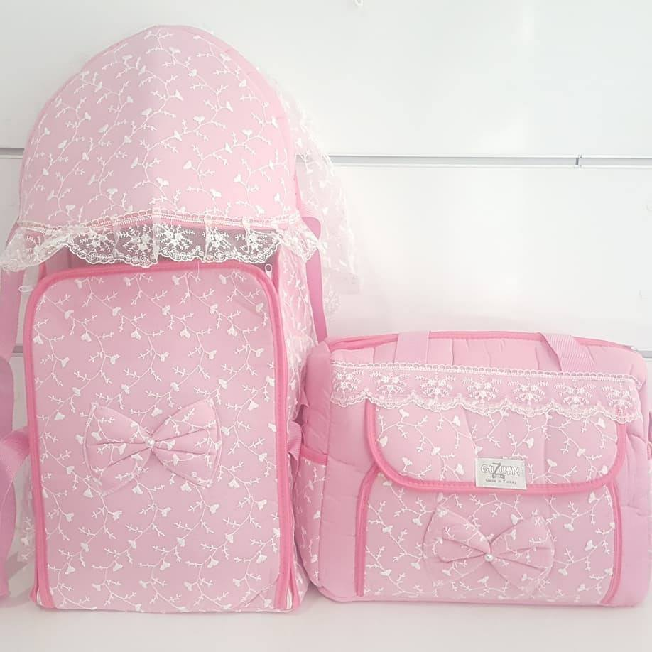 Ruched Pink Luxury 2 Li Girl Baby Carry Seti