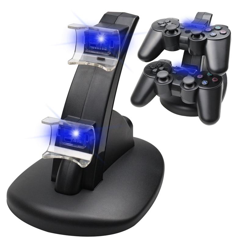 Carregador duplo Para PS3 Carregamento Base Dock + Cabo USB Para Sony PlayStation 3 Controlador Console Frete Grátis