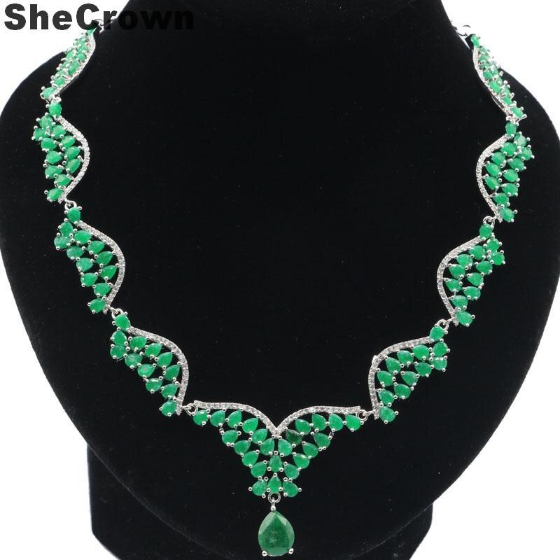 40x32mm grand lourd 24.6g réel vert émeraude mariage femme argent collier longueur 18-19 pouces