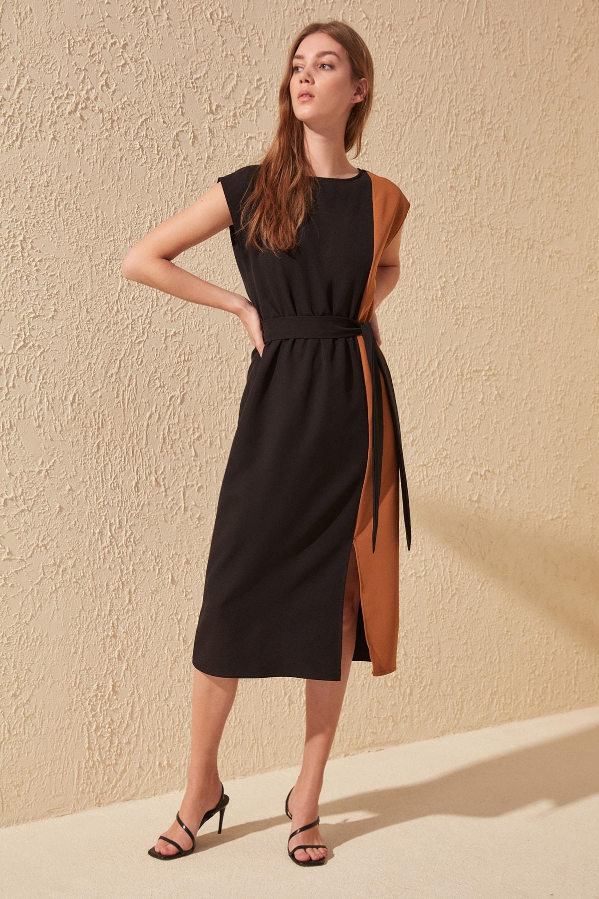 Trendyol Belted With Color Block Dress TWOSS20EL1598