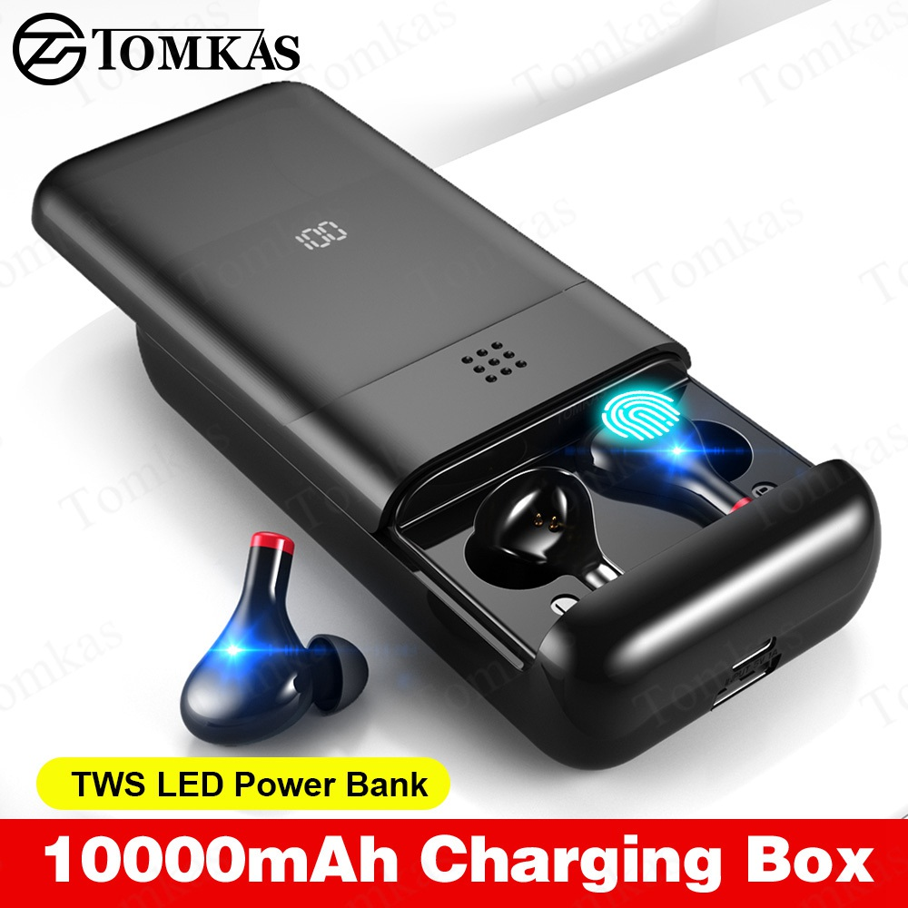<font><b>TWS</b></font> True 10000mAh Charging Box 5.0 Bluetooth Earphone LED Stereo Earbuds Noise Cancelling Waterproof Wireless Bluetooth Headsets image