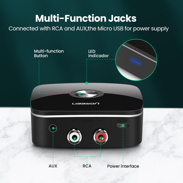 UGREEN Bluetooth RCA Receiver 5.0 aptX LL 3.5mm Jack Aux Wireless Adapter Music for TV Car RCA Bluetooth 5.0 3.5 Audio Receiver 4