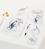 Personalized Beauty and Hair Care Öğretmeni Themed White Notebook Pen Cup Mirror Set