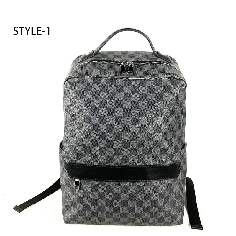 HORIZONPLUS New Fashion Black Grid PLAID Vegan Leather Backpack Large Capacity Leisure Business  Backpack With Laptop