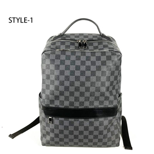 HORIZONPLUS New fashion Black grid PLAID Vegan Leather backpack large capacity leisure business backpack with laptop