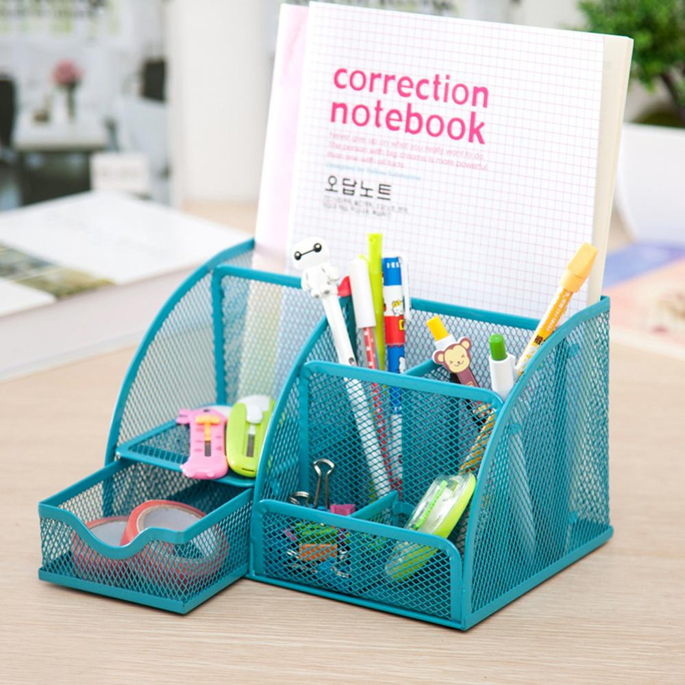 9 Grids Desk Organizer Multi-function Metal Fuselage More Durable Mesh Pen Holder School Offices Stationery Container Box