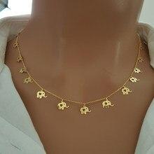 Ожерелье со слоном, 925 серебряное ожерелье с золотым наполнением