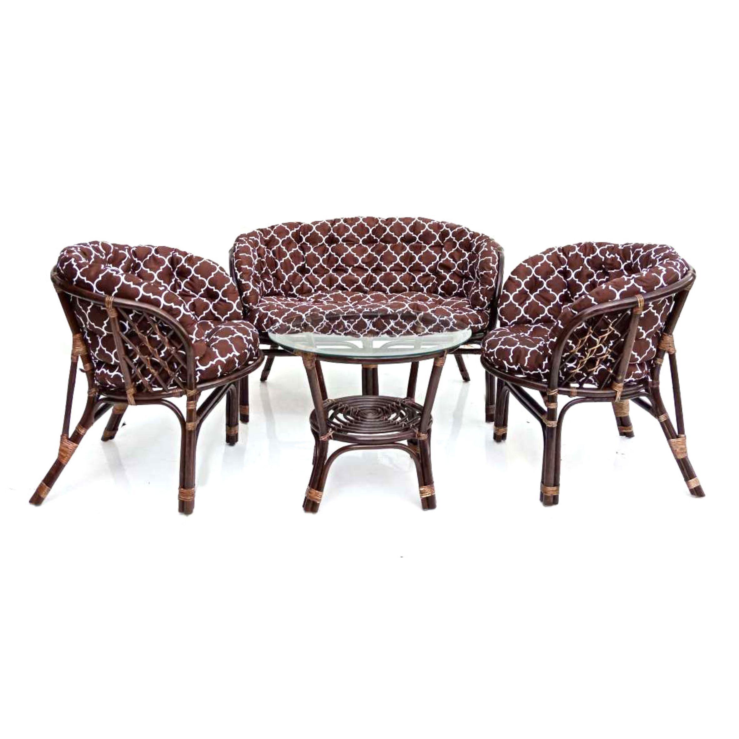 Комплект кофейный БАГАМА (стол+2 кресла+диван, подушка твил с принтом