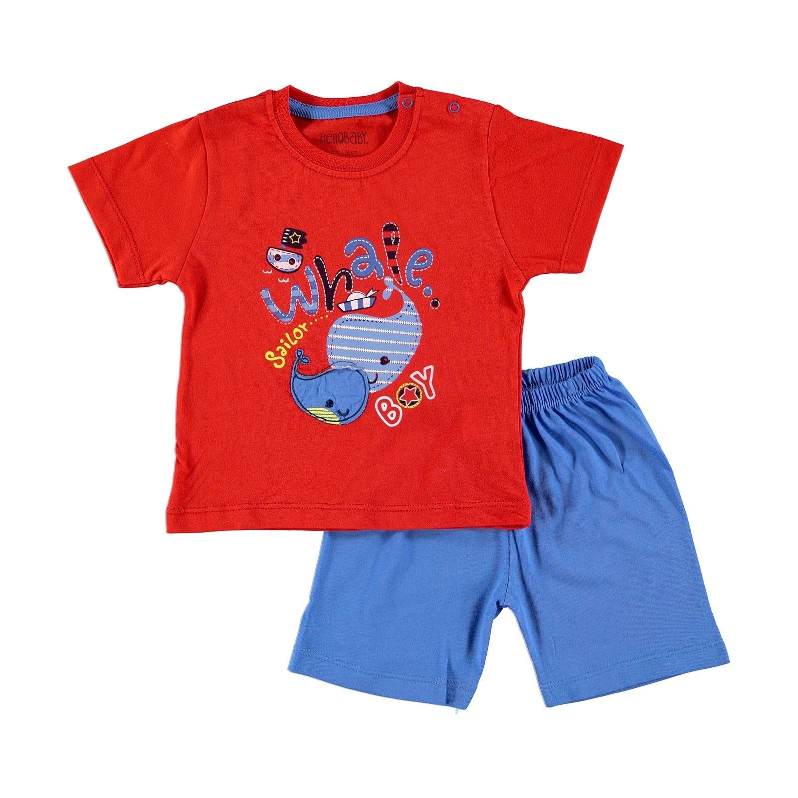 Ebebek HelloBaby conjunto de pijamas de manga corta de algodón de manga corta con estampado de dibujos animados Regular cuello redondo ropa de bebé Casual 2020 verano