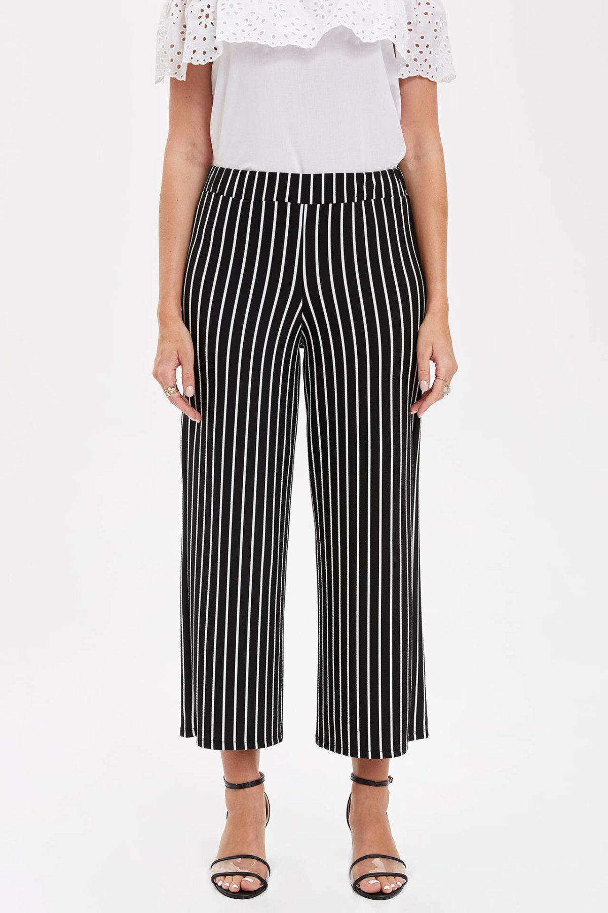 DeFacto Women Elegant Striped High Waist Wide Leg Pants Female Belt High Quality Loose Trousers Ladies Autumn L0085AZ19HS