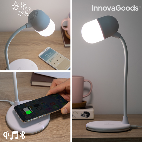 LED Lamp With Speaker And Wireless Charger Akalamp InnovaGoods